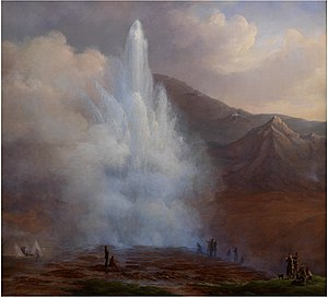 Frederik Theodor Kloss - Frederik Theodor Kloss, Store Geysir på Island under eruptionen i året 1834 (1835)