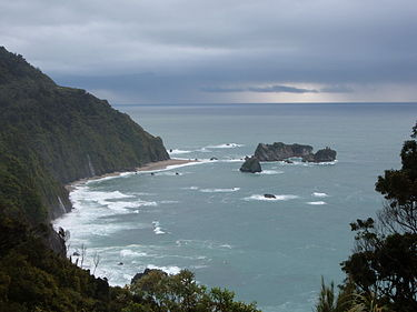 Knights Point, typical rugged coastline of the West Coast Knight's Point, West Coast.jpg