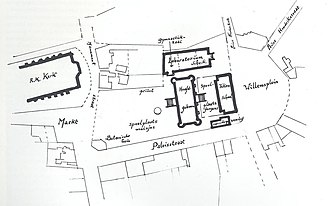 City Hall of Tilburg - Survey of the Rijks-HBS Koning Willem II in 1866. Also the surrounding of the school is on the map, like the Saint Denis church. The buildings around the palace like the gym and the laboratory, which are both in one building, the art school and the caretaker's house were all demolished later.
