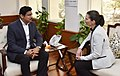 Kristy Duncan meeting the Minister of State for Youth Affairs and Sports (IC) and Information & Broadcasting, Col. Rajyavardhan Singh Rathore, in New Delhi (1).jpg