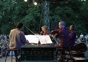 Kronos Quartet performing in Warsaw, Poland in...