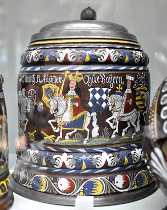 Creußen - Creußen painted stoneware beer stein of 1696 from the Victoria and Albert Museum