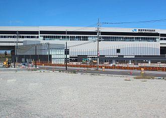Kurobe-Unazukionsen Station - The station under construction in September 2014