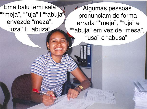 "Tetum (left) and Portuguese (right). From a Portuguese course for Tetum speakers. The text says: ""Some people pronounce wrongly '*meja', '*uja' and '*abuja' instead of 'mesa', 'usa' and 'abusa'."""