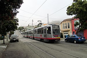 15th Avenue and Taraval station - Outbound train at 15th and Taraval in June 2017