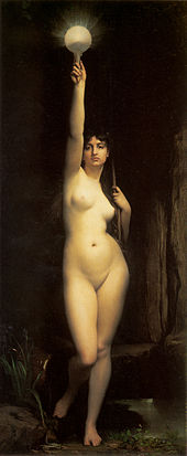 full length painting of a young naked woman