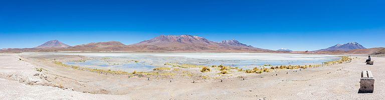 Panoramic view of Laguna Hedionda, Nor Lípez Province southwestern Bolivia.