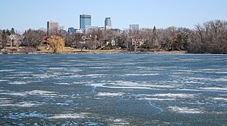 Lake of the Isles - Minneapolis' skyline seen from Lake of the Isles, April 2006