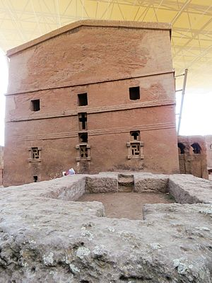 Ethiopian art - The rock-hewn Church of Bet Maryam in Lalibela.