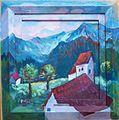 Landschaft mit Berg und Kirche, Margret Hofheinz-Döring, Öl, 1983 (WV-Nr.3799).JPG