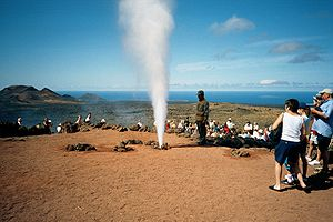 Timanfaya National Park - Tourists in the park.