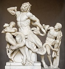 Photograph of a sculpture.  A bearded man and two boys fight to free themselves from sea serpents that entangle them.