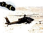 Laser HELLFIRE being launched from Apache helicopter.jpg