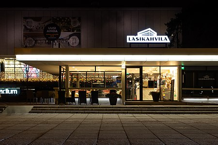 Lasikahvila café in Tapiola, Espoo just before closing for the day.