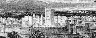 Lathom House - Artist's impression (1864) of Lathom House at the time of the Civil War
