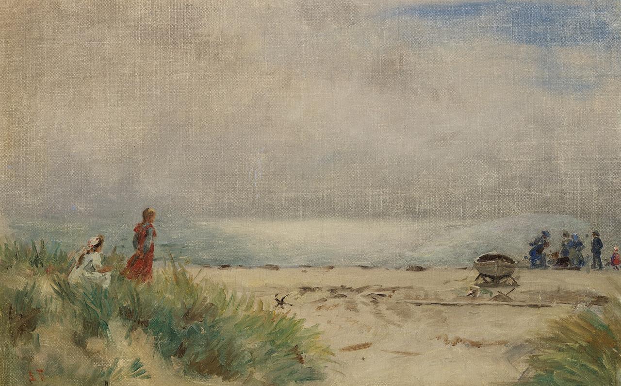Laurits Tuxen - To smеpiger i klitterne pе Skagen strand.png