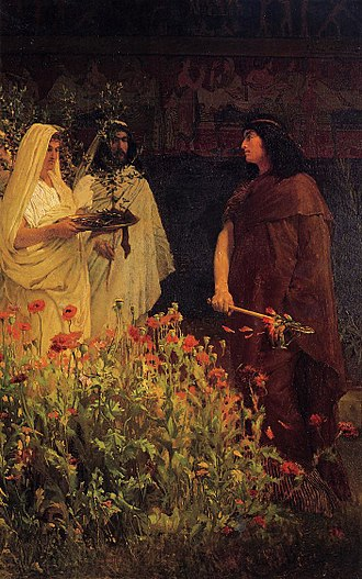 Tarquinia (gens) - Sir Lawrence Alma-Tadema, Tarquinius Superbus (1867).  The king suggests to his son, Sextus, how to bring the city of Gabii under his control, by silently lopping the heads off the tallest poppies in his garden.