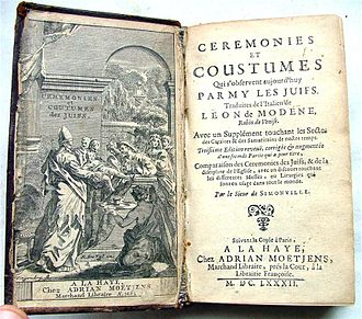 Richard Simon (priest) - Cérémonies et coutumes parmi les Juifs by Leon of Modena, translated by Simon.
