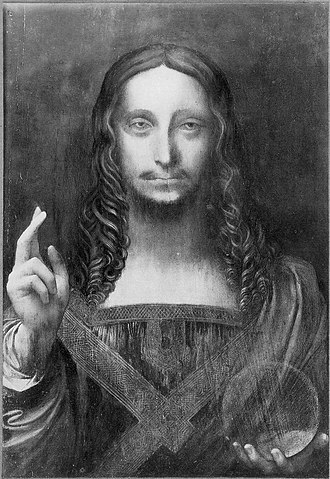Salvator Mundi (Leonardo) - Salvator Mundi (black and white photograph c.1908–10) before restoration