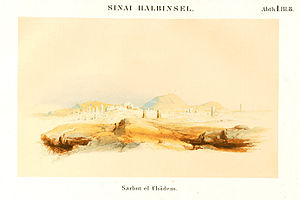 Serabit el-Khadim - Illustration prepared by a 19th-century Prussian expedition