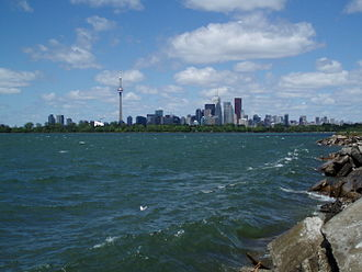 Toronto Harbour - View of the Outer Harbour from the Leslie Street Spit. The Outer Harbour was developed through the construction of new breakwater that later became the Leslie Street Spit.
