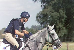 Leslie Law - Leslie Law riding Shear H2O (2004 Burghley Horse Trials)
