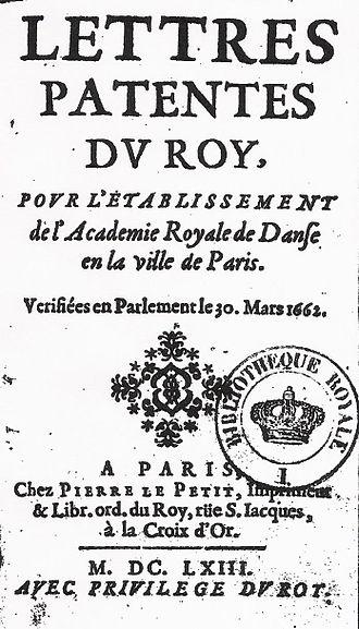 Académie Royale de Danse - The Academy's founding letters patent