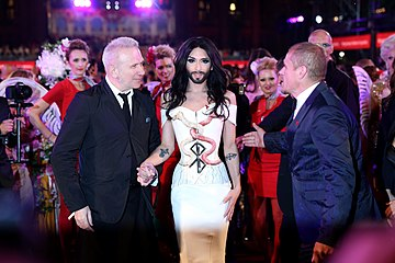 Life Ball 2014 red carpet 115 Conchita Wurst Jean Paul Gaultier Gery Keszler.jpg