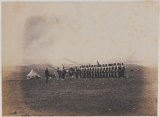 38th (1st Staffordshire) Regiment of Foot - The remnants of the regiment's light company parade before Lieutenant-General Sir John Campbell in 1855