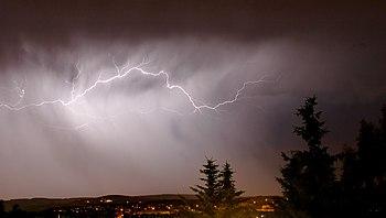Lightning over Zwickau in Germany