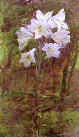 "Ellen Day Hale - Lilies, circa 1890s, oil on canvas (26"" x 15"")"