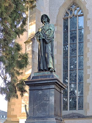 Reformation in Zürich - Zwingli memorial at Wasserkirche, Limmatquai in Zürich.