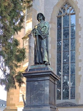 Reformation in Zürich - Zwingli memorial at Wasserkirche, Limmatquai in Zürich.