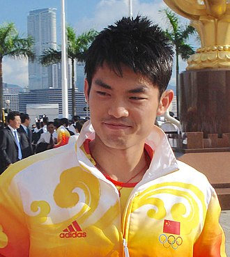 Lin Dan - Lin at Golden Bauhinia Square, Hong Kong, 2008