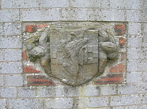 Clan Wallace - Wallace and Lyndsay conjoiner Coat of Arms and supporters from Craigie Castle, Ayrshire.