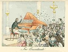 Franz Liszt in einer Karikatur von 1842 (Quelle: Wikimedia)