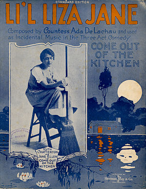 Li'l Liza Jane - 1916 sheet music cover, with inset photo of Ruth Chatterton.