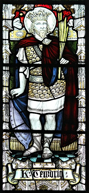 Tewdrig - Representation of St. Tewdrig, stained glass, Llandaff Cathedral, Cardiff, South Wales. 156