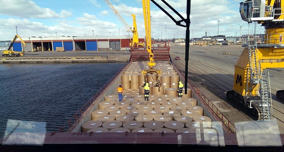 Loading paper rolls in the port of Hamina (Finland) March 2016