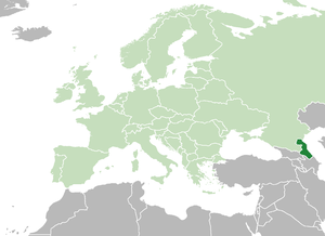 Location of Dagestan (dark green) in Europe (green)