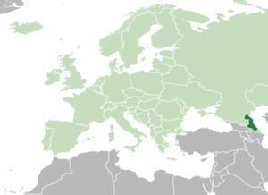 Расположение Дагестана (темно-зеленый) в Европе (зеленый)