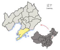 Location o Dalian Ceety jurisdiction in Liaoning