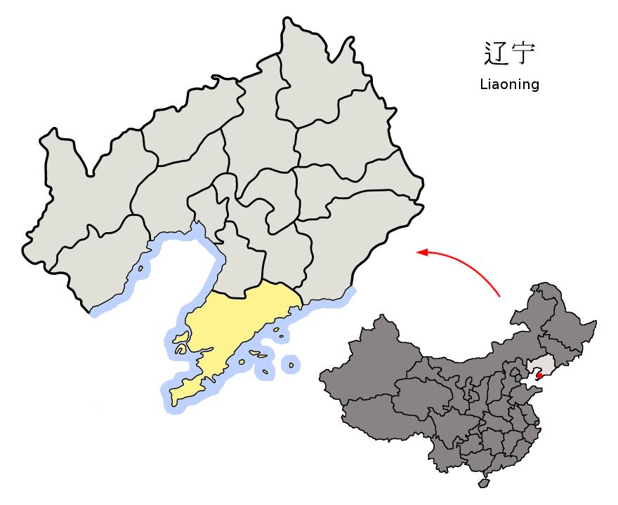 Location of Dalian City jurisdiction in Liaoning