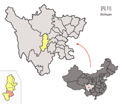 Location of Hanyuan County (red) in Ya'an City (yellow) and Sichuan province