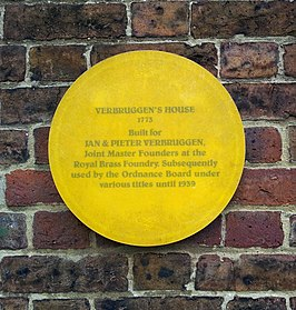 Plaquette Verbruggen's House, Woolwich