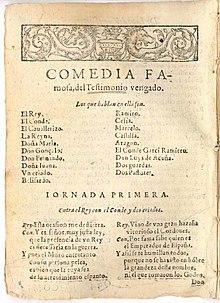 Una pièce di Lope de Vega, divisa in «giornate».