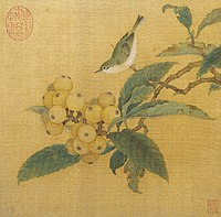 A square painting depiciting a small bird, with a grey top and white underbelly, perched on a branch that ends with a large cluster of orange tinted fruits, each about half the size of the bird.