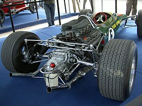 A Ford-Cosworth DFV installed in the back of a Lotus 49.