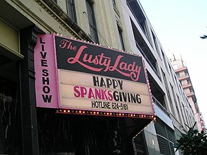 Lusty Lady - Marquee of the now defunct Seattle Lusty Lady, Thanksgiving 2005