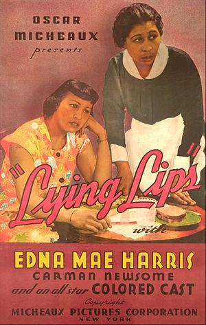 Edna Mae Harris - Harris (left) on poster for Lying Lips (1939.)